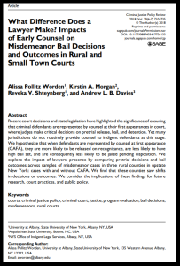 What difference does a lawyer make - Impacts of early counsel on misdmeanor bail decisions and outcomes in rural and small town courts border 2018